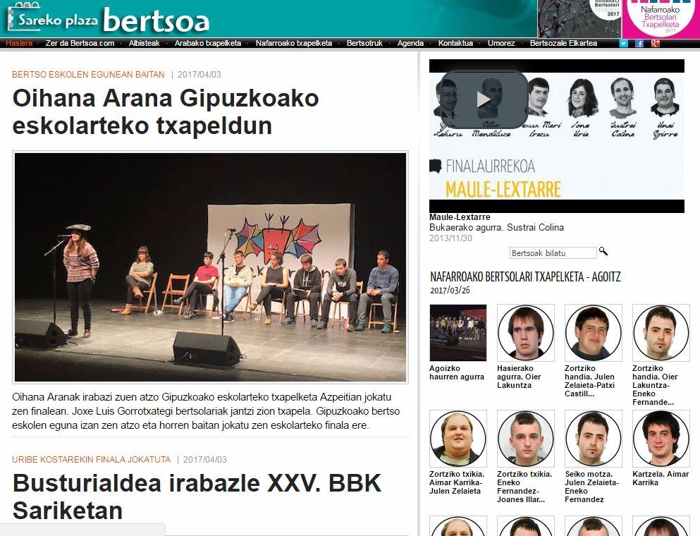 Arabako txapeldunaren eta Nafarroako finalisten hitzak, Bertsoan
